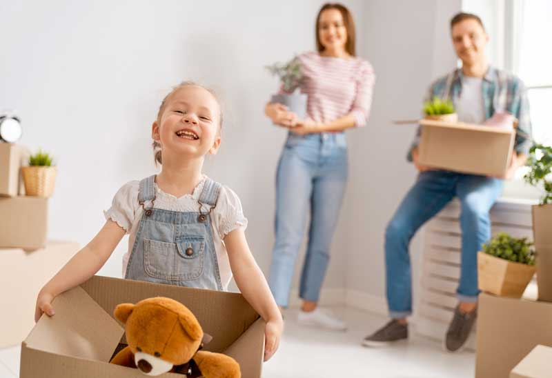 Mortgage-approved family moving into their new home